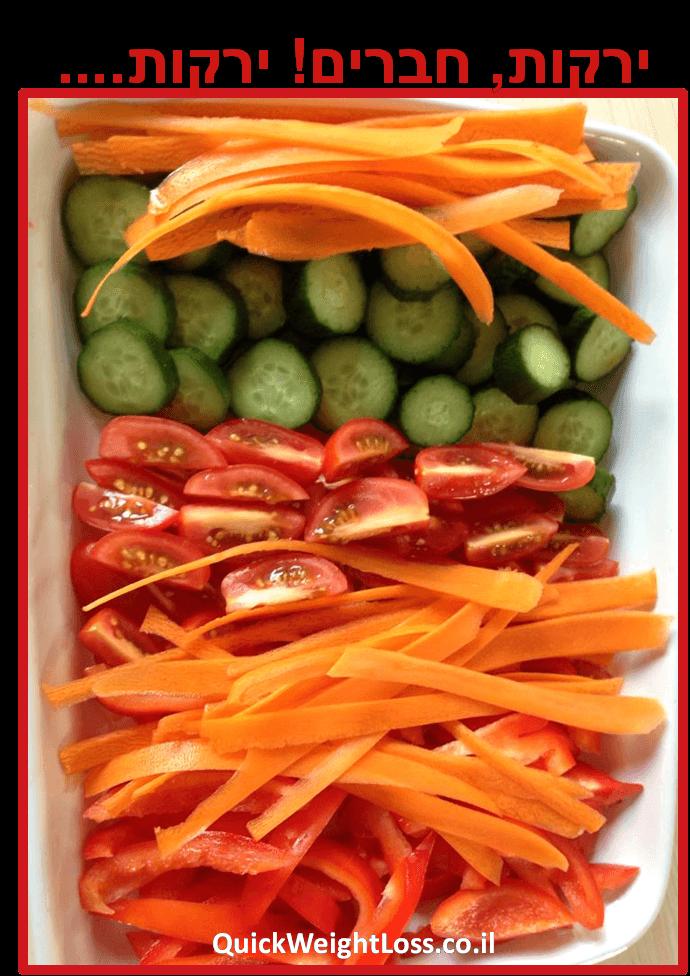 כמה ירקות ופירות לאכול כדי לרזות?